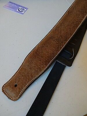 GUITAR STRAP- GENUINE LEATHER PADDED SNAKE EFFECT **UK MADE** Elec, Bass, Acous
