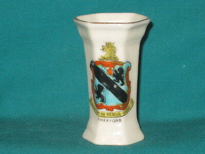 Arcadian China Hexagonal Vase - SHEFFORD crest