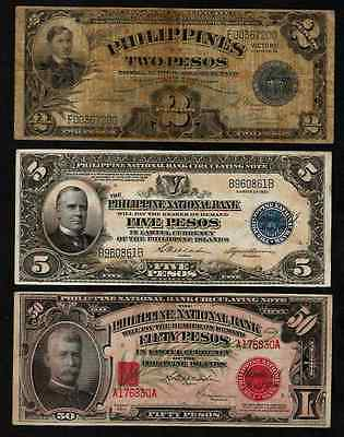 Philippines Lot Of 3 Banknote