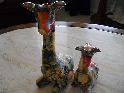 2 Ceramic Giraffes--Very Colorful