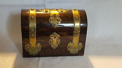 Coromandel wood & brass vintage Victorian antique casket / chest box