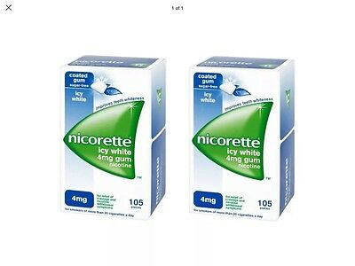 2 Boxes Of Nicorette Icy White Gum 4mg.