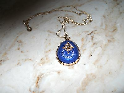 Avon Necklace---Blue--Gold Colored Chain