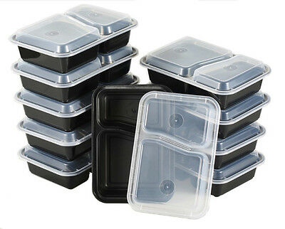 10 BPA Free 2 Compartment Reusable Plastic Food Meal Prep Storage Box Containers