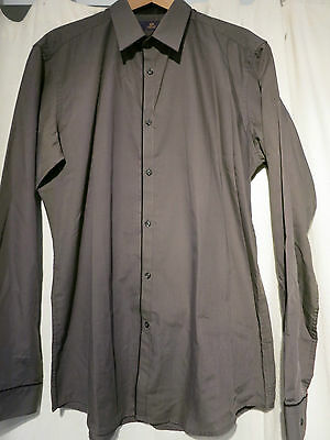 Mens Next Khaki / Black Dress Shirt - Large/16