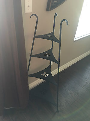 LONGABERGER Wrought Iron 4 shelf Mixing Bowl Stand tier Basket Display Triangle