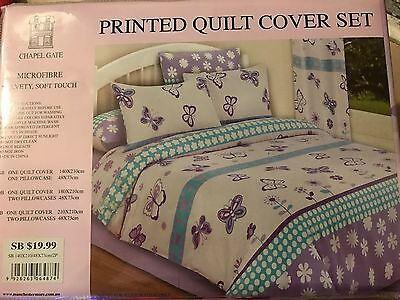 Single Bed Quilt Cover Set Butterfly Design BNIP