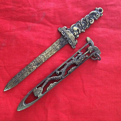 antique   Chinese ancient carving dragon lettering sword with scabbard hollow ou