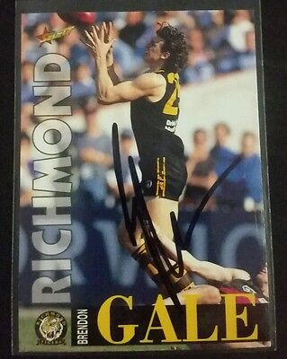 Brandon gale personally signed select 1996 afl card Richmond tigers