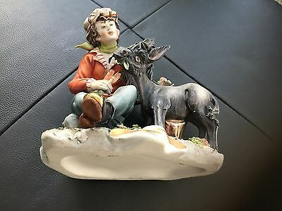 Original 70's Capodimonte Donkey eating carrots with boy by tree. VGC.