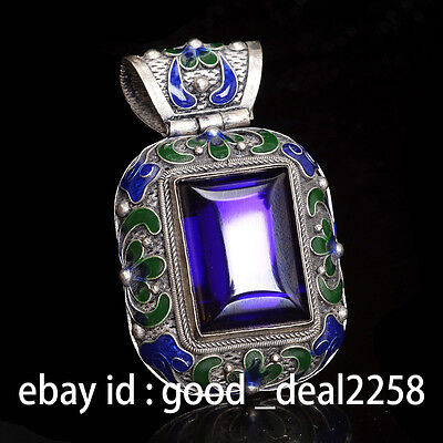 Rare China Silver Old Violet Zircon cloisonne collect hand carved pendant p1
