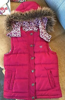 Girls Crew Body Warmer Jacket Gilet, Dark Pink, With Detachable Hood, Age 7