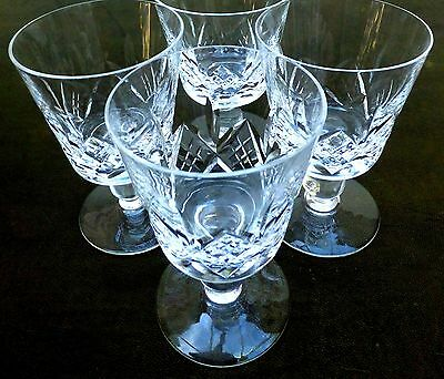 4 x Heavy Crystal Wine Glasses Stuart England Perfect Vintage Cut Lead Large