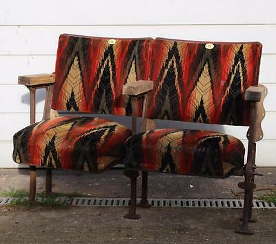 A Vintage C1920s Pair of Cinema Seats with Provenance Jazzy Design