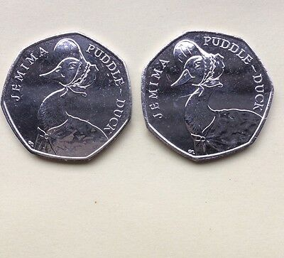 2 UNCIRCULATED BEATRIX POTTER Jemima Puddle duck 50 PENCE COIN 2016.