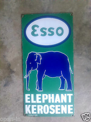 Vintage Esso Elephant Kerosene Porcelain/Enamel Metal Sign Board Collectible 24""