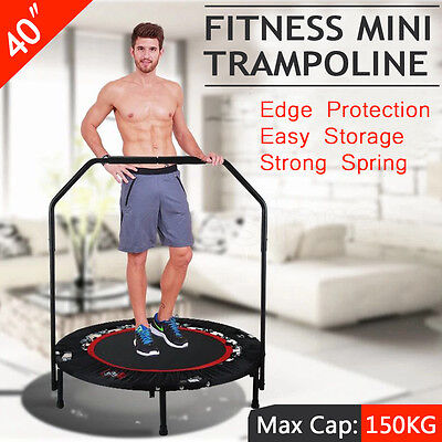 MINI TRAMPOLINE HANDRAIL EXERCISE WORKOUT GYM CARDIO SPRING  INDOOR 40'' Safety