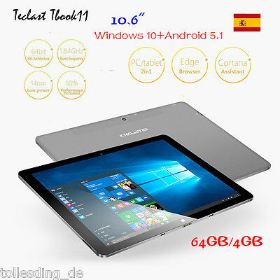4G/64G 10.6'' Teclast Tbook11  Windows10& Android5.1 Tablet PC 1.84Ghz HDMI