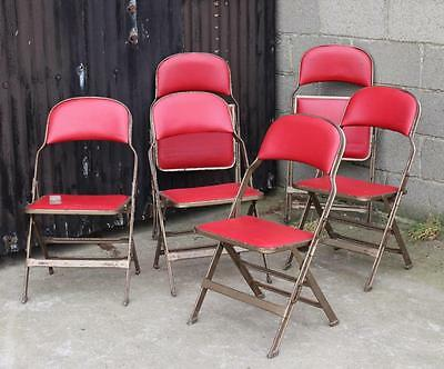 A Set of 6 Vintage Retro Folding Café Chairs, Red Vinyl Shop Display