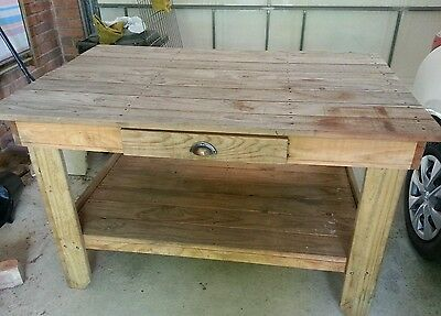 Heavy duty treated pine work bench with shelf and drawer PICK UP SANDRINGHAM