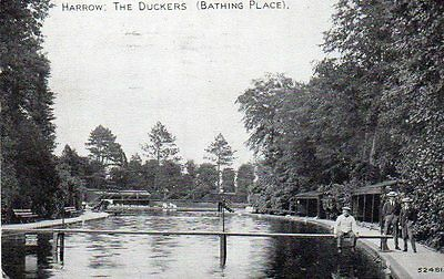 """""""""""postcard The Duckers (Bathing Place ) Harrow,middlesex,dated 1930"""""""""""