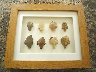 Paleolithic Arrowheads in 3D Picture Frame, Authentic Artifacts 70,000BC (V017)
