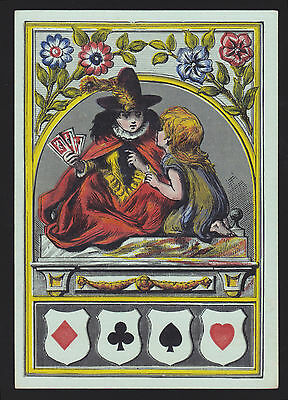 1 Single Antique Playing Swap Card Old Wide Square Corner Prince & Pauper Green