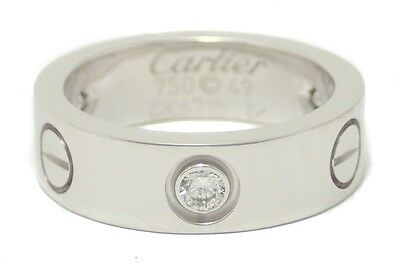 Cartier love ring ring No. 9 # 49 K18WG 750WG white gold half 3PD B4032549