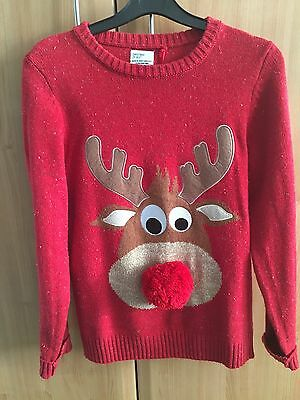 Next Boys Red Pom Pom Nose Reindeer Knitted Christmas Jumper Ex. Cond 12 Years