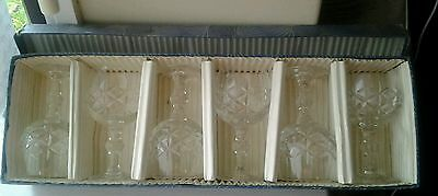 Bohemia Cut Glass Crystal Set Of 6 Sherry Glasses In Box