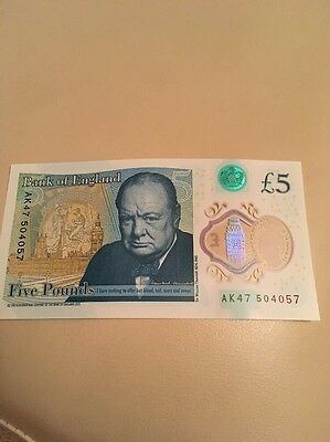 New Five Pound Note AK47 Consecutive Numbers