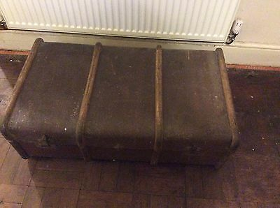 Vintage Steamer Trunk wood edgings Travel Case Coffee Table Toy Chest Upcycle