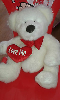 White Bear With Red Bow And Red Heart With Love Me On It. Russ Bear Add To Your