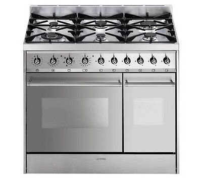 SMEG C92DX8 Dual Fuel Range Cooker & Extractor Stainless Steel GRADED RRP £999