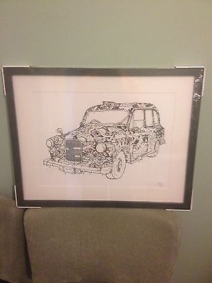 Limited Edition THE TAXI Sketch Framed Print Black & White By Damilola Odusote