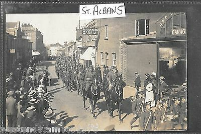 Herts Ww1 1914 Ppc R/p St Albans (143) Military Procession. Postally Used 1914