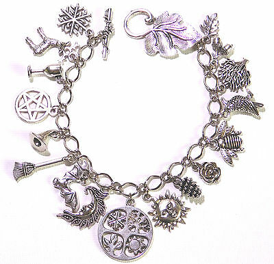 Wheel of The Year - Pagan Wicca Charm Bracelet - with 17 charms