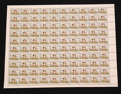 Full Sheet of 100 MNH 1978 The Little Grebe 20c Stamps