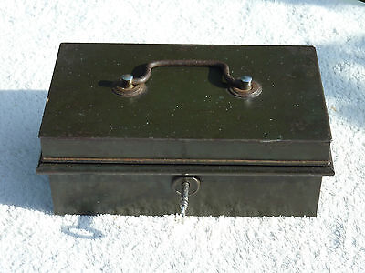 Antique Cash Money Box Metal Safe By Victa Early Mid 20th Century Shabby Chic
