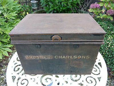 Vintage Old Antique Large Metal Cash Deed Tin Box  Milners Shabby Chic Storage