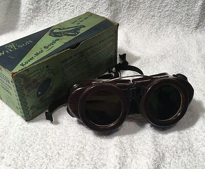Vintage Willson Motorcycle Welding Safety Glasses Goggles Steampunk In Box