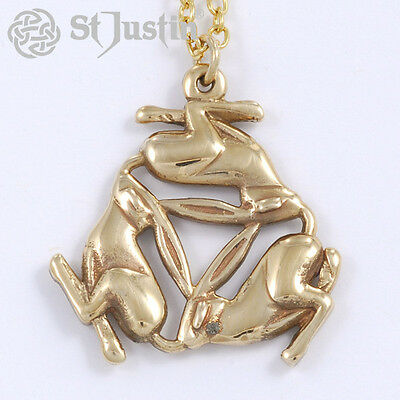 Three Hares pendant in solid Bronze by St. Justin, Cornwall BZP 51