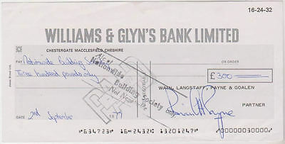 UK -  Williams & Glyn's Bank Limited Cheque