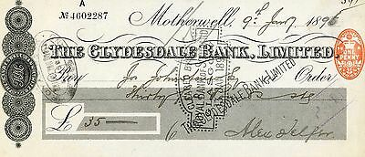 UK -  The Clydesdale Bank, Ltd. Cheque -1896 - w Revenue Stamp