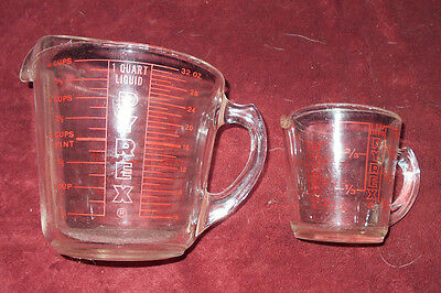 Pyrex 4 Cup Measuring Cup Red Markings Clear Glass / 1 cup Pyrex Cup
