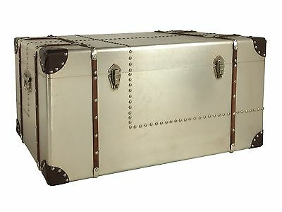 Extra Large Vintage / Retro Style Metal & Wood Chest  *TRUNK COFFEE TABLE*