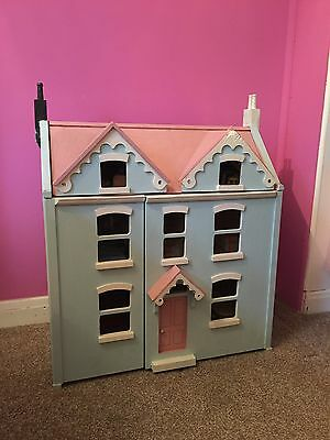 Wooden Dolls House.  With Furniture And People