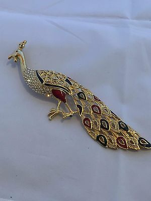 Vtg/retro Large Red, Green  Enamel & Clear Pave Rhinestone Peacock Brooch~