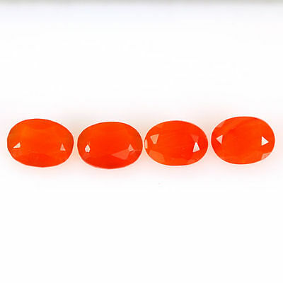 2.780 Ct 100% Natural Museum Grade Fine Orange Red Mexican Fire Opal Oval 4 Pcs