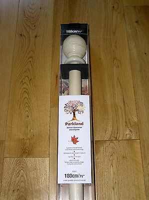 Antique White Wooden Curtain Pole Set 180cm, 35mm diameter, Ribbed Ball Finials